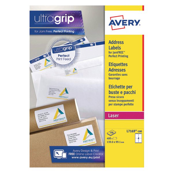 avery white laser parcel labels 139 x 99 1mm 4 per sheet pack of