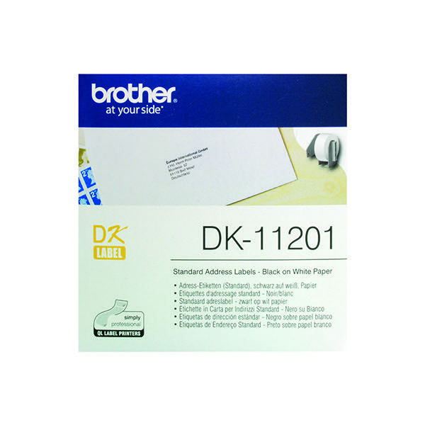 brother black on white paper standard address labels pack of 400