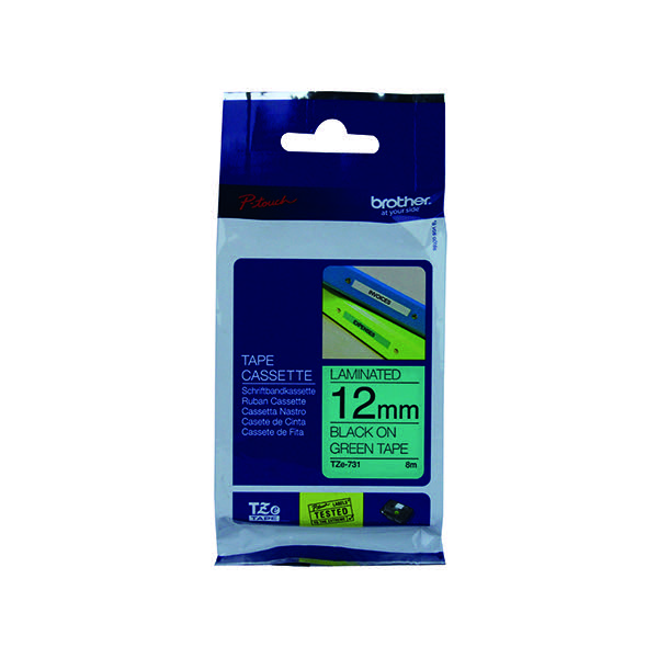 Genial Brother P Touch 12mm Black On Green TZE731 Labelling Tape