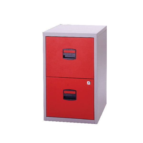 Superbe Bisley A4 Personal Filing Cabinet 2 Drawer Lockable Grey And Red BY59449