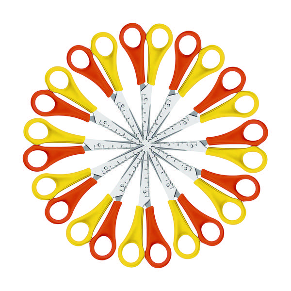 Westcott Left Handed Scissors 130mm Yellow And Orange Pack Of 12 E 21593 00