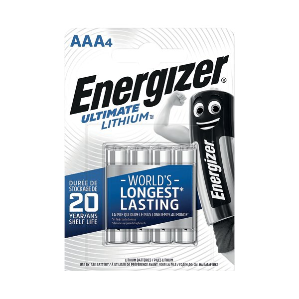 energizer aaa ultimate lithium batteries pack of 4 632965 fleet office. Black Bedroom Furniture Sets. Home Design Ideas