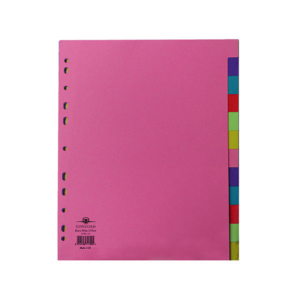 2xPunched Pocket Dividers Plastic Multicolour-Tabbed 5-Part Extra Wide A4 White