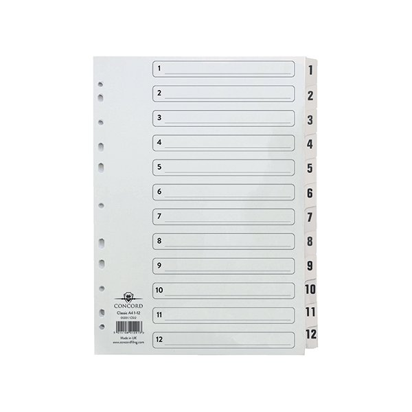 2 X Classic Index 1-20 A5 Board with Clear Mylar Tabs 07201//Cs72 White