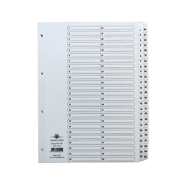 Concord Classic Index Mylar-reinforced Punched 4 Holes 1-50 A4 White Ref 05501//CS55