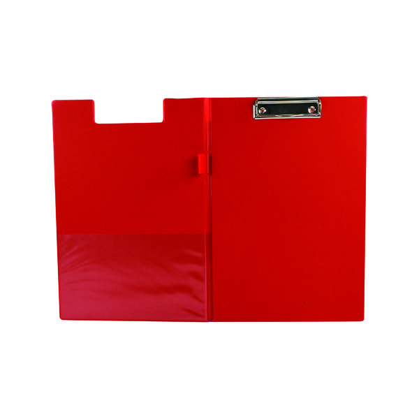 Q Connect Red A4 Foolscap Pvc Foldover Clipboard Kf01302