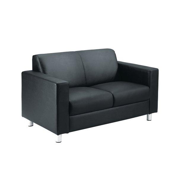 Avior Leather Faced Executive Reception Sofa Black Kf03530