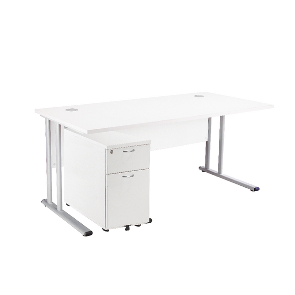 First Rectangular Desk And Pedestal Bundle 1600mm 2 Drawer Under White Kf838157
