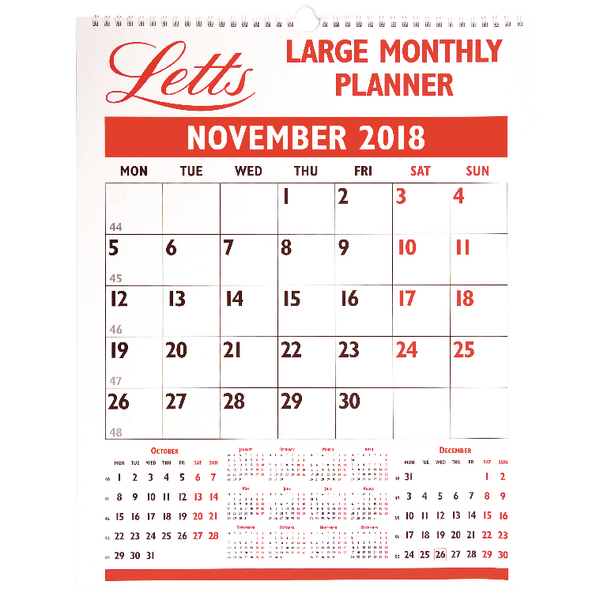 Letts Large Monthly Planner 2018 5 Tlmp Quest Systems