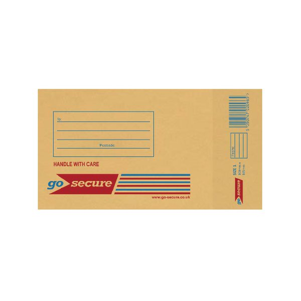gosecure bubble lined envelope size 1 100x165mm gold pack of 20