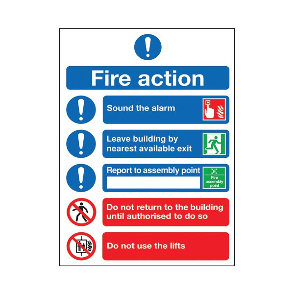 Safety Sign Fire Action Symbols A4 Self Adhesive Fr09950s Stakelum