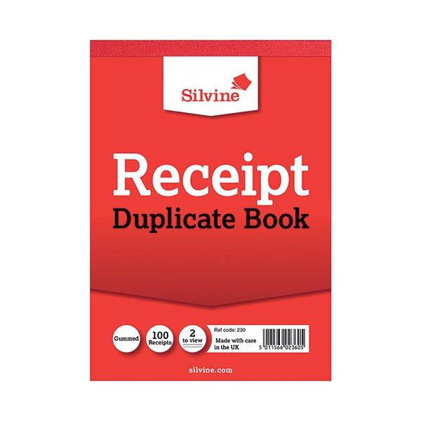 silvine duplicate receipt book 105x148mm gummed pack of 12 230