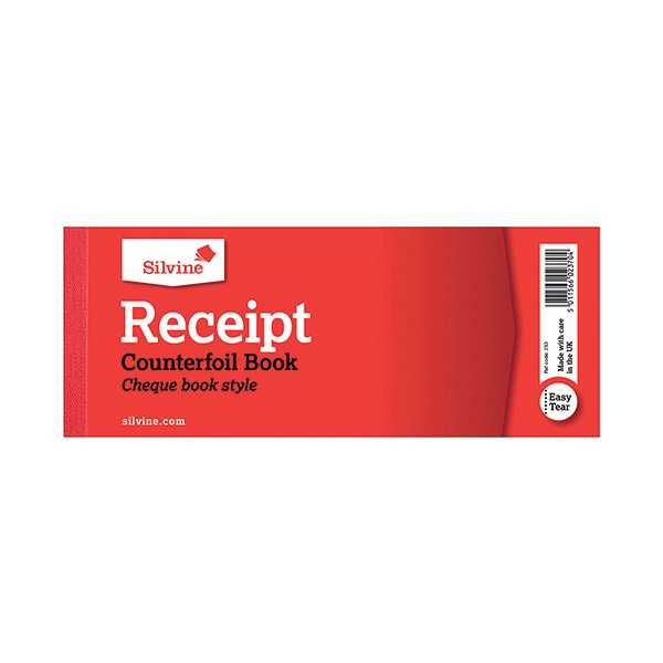 silvine receipt book 80x202mm with counterfoil pack of 36 233