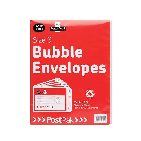 Post Office Postpak Size 3 Bubble Envelopes Pack Of 40 41631