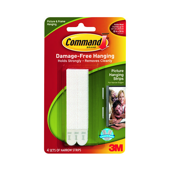 Compare retail prices of 3M Command Narrow Picture Hanging Strips White Pack of 4 17207 to get the best deal online