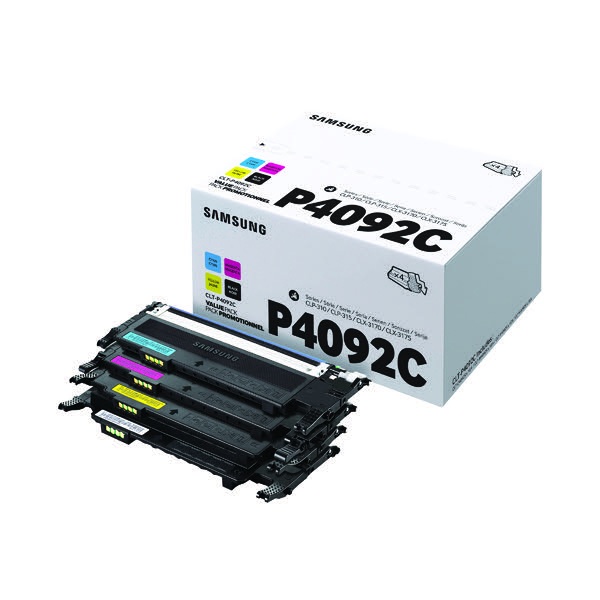 Compare retail prices of Samsung CLT P4092C CYMK Standard Yield Toner Cartridges Pack of 4 SU to get the best deal online