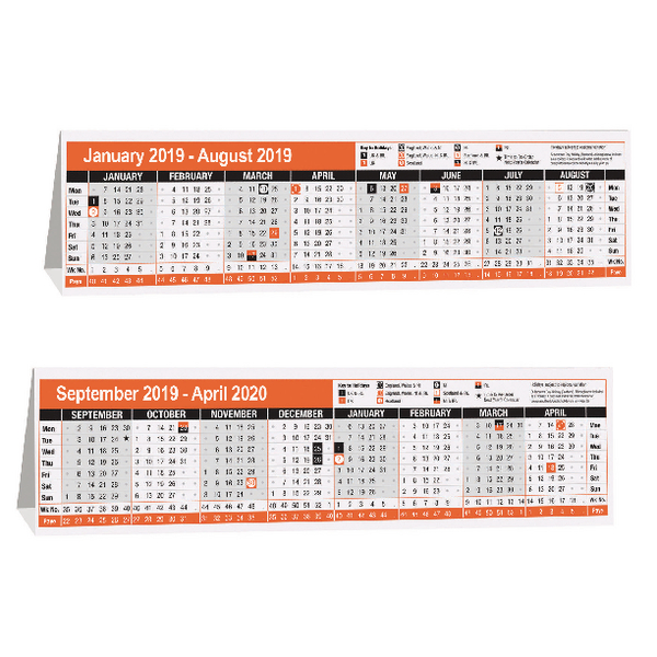 Compare retail prices of 16 Month Calendar Desktop 280x80mm 2019 KF3004019 to get the best deal online
