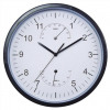 Business Weather Wall Clock w/Temperature & Hygrometry Dials Diam. 300mm White Face & Black Case
