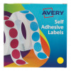 Avery Labels in Dispenser on Roll Round Diam.19mm Yellow Ref 24-508 [1120 Labels]