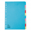 Elba Subject Dividers 10-Part Card Multipunched Recyclable 160gsm A4 Assorted Ref 400007246