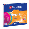 Verbatim Colour 16x Speed DVD-R with Non-Printable Surface and Slim Jewel Case (Pack of 5) 43557