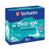 Verbatim Colour 4x Speed DVD-RW Non-Printable Surface with Slim Jewel Case (Pack of 5) 43285