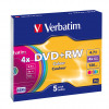 Verbatim Colour 4x Speed DVD+RW Non-Printable Surface with Slim Jewel Case (Pack of 5) 43297