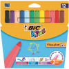 Bic Kids Visa Felt Tip Pens Washable Fine Tip Assorted Ref 888695 [Pack 12]
