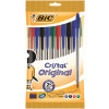 Bic Cristal Ball Pen Clear Barrel 1.0mm Tip 0.32mm Line Assorted Ref 830865 [Pack 10]