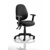 Luna II Lever Task Operator Chair Black With Height Adjustable Arms