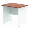 Impulse Panel End 800/600 Rectangle Desk Walnut Top White Panels
