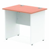 Impulse Panel End 800/600 Rectangle Desk Beech Top White Panels