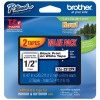 Brother Gloss Black On White Label Tape 12mm Twin Pack