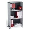 Fast Paper Mobile 3 Compartment Bookcase Grey/Charcoal