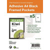 S/Adhesive A4 Black Display Frames with Magnetic Closure Pk5