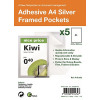 S/Adhesive A4 Silver Display Frames w/ Magnetic Closure Pk5