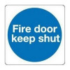 Fire Door Safety Sign Keep Shut 100x100mm Self-Adhesive