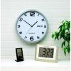 Aluminium Clock 30cm dia With Date Feature Silver Grey Surround Easily Adjustable