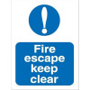 Stewart Superior Fire Escape Keep Clear Self Adhesive Sign Ref M025SAV *2017 Mailer*