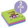 Post-it Super Sticky Removable NotesPad 100x100mm UltraAsstd Ref 675-3SSMX-EU [Pack 3] [2 For 1] Aug 2017