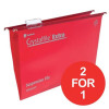 Rexel Crystalfile Extra Suspension File 15mm Foolscap Red Ref 70629 [Pack 25] [2 For 1] Apr-Jun 2018