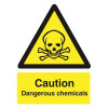 Stewart Superior Caution Dangerous Chemicals Sign Self Adhesive Vinyl 150x200mm Ref WO142SAV