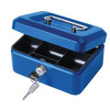 Cash Box with Simple Latch and 2 Keys plus Removable Coin Tray 152mm Blue