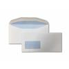 Wallet Gummed DL+ White 90gsm 114 x 235mm Window 45 x 90mm 18 Up 20 Left Blue Hatch Inner Opaque  (Box 1000) Code ENVDL+/4030