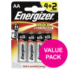 Energizer Max AA/E91 Batteries Ref E300112500 [Pack 4 and 2 FREE] Apr-Sep 2018