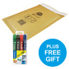 Jiffy Airkraft Bubble Bag Envelopes Size 4 P&S Gold Ref JL-GO-4 [Pack 50] [FREE Marker Pens] Oct-Dec 2018
