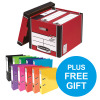 Bankers Box Premium Storage Box Tall Red FSC Ref 7260703 [Pack 12] [x2 & FREE Lever Arch] Oct-Dec 2018
