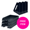 Rexel Choices Letter Trays A4 x3 & Mag Files x3 PP Black [Bundle Offer & FREE Matador Stapler] Jan-Mar 20