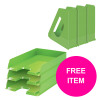 Rexel Choices Letter Trays A4 x3 & Mag Files x3 PP Green [Bundle Offer & FREE Matador Stapler] Jan-Mar 20