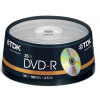 TDK DVD-R Recordable Disk Write Once on Spindle 16x Speed 120min 4.7GB Ref t19416 [Pack 25]